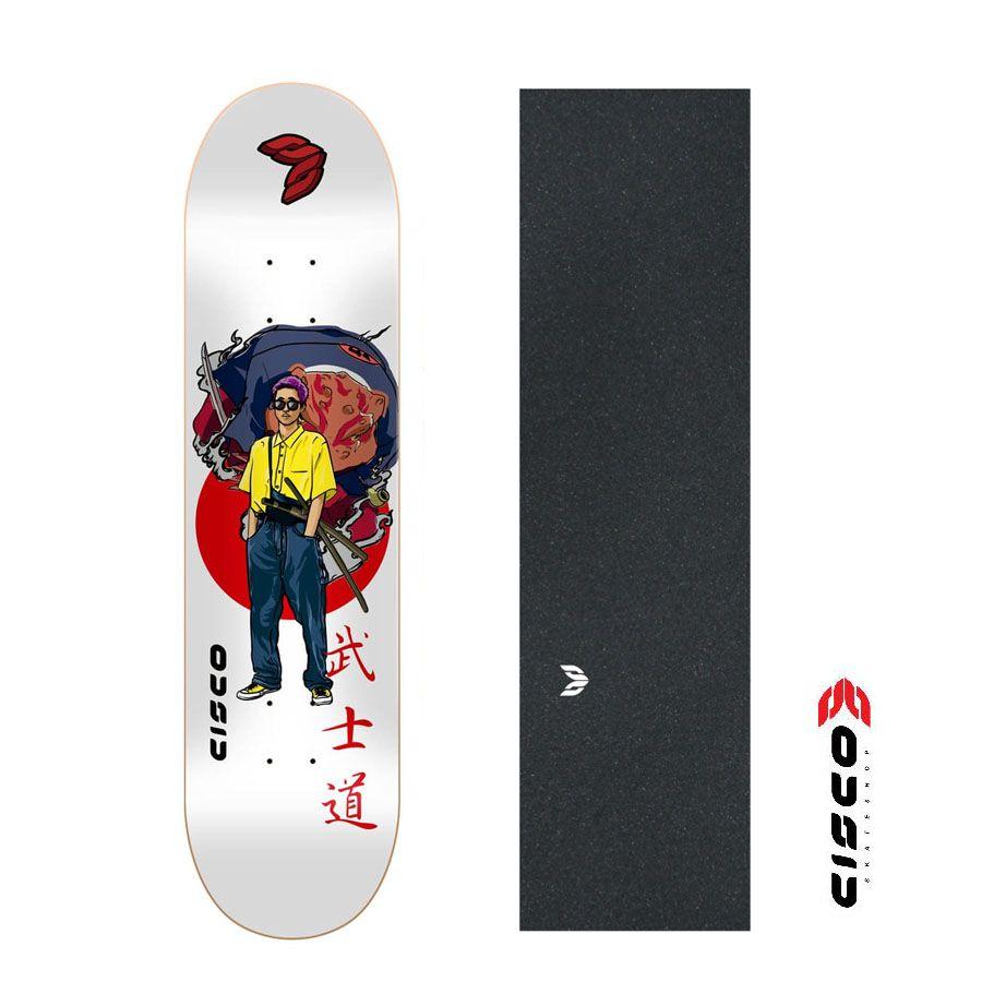 "Shape de Skate Cisco Premium Street Gang Gama + Lixa Emborrachada 8"""