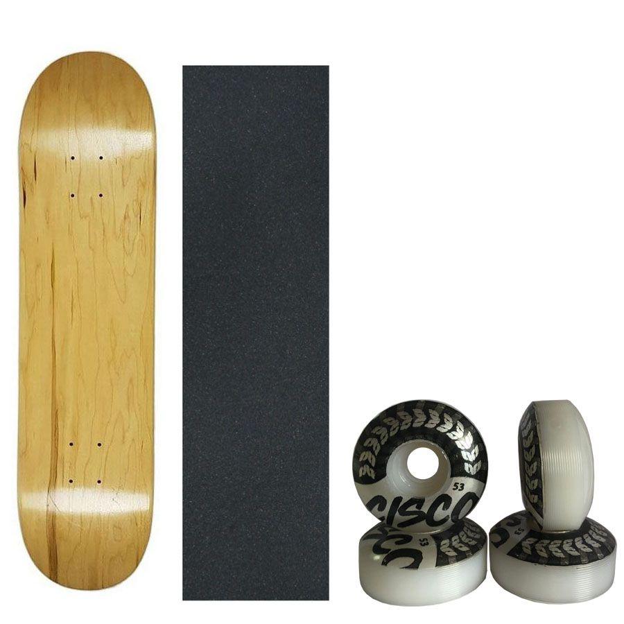 Shape De Skate Marfim/lixa Importada/4 Rodas Street 53mm