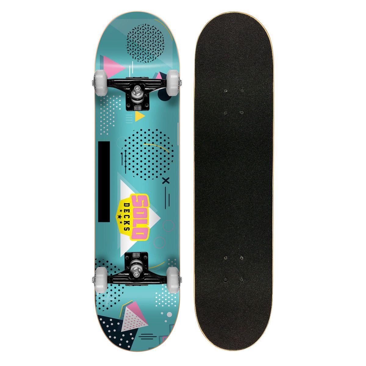"""Skate Montado Iniciante Solo Colagem Blue 7.75"""""""