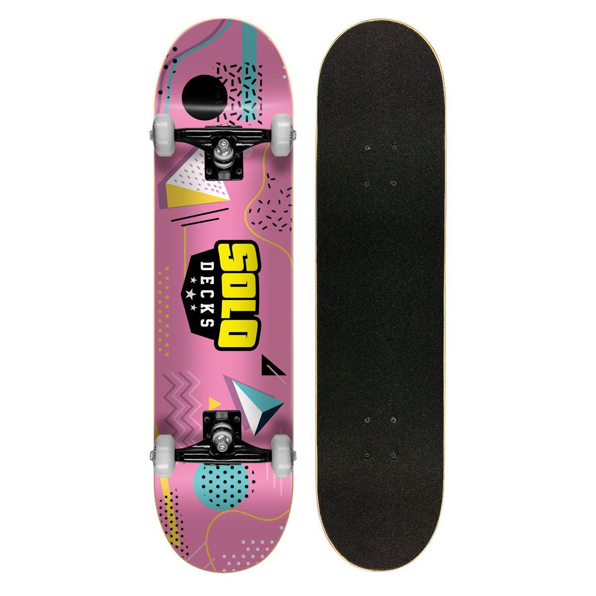 """Skate Montado Iniciante Solo Colagem Pink 7.75"""""""