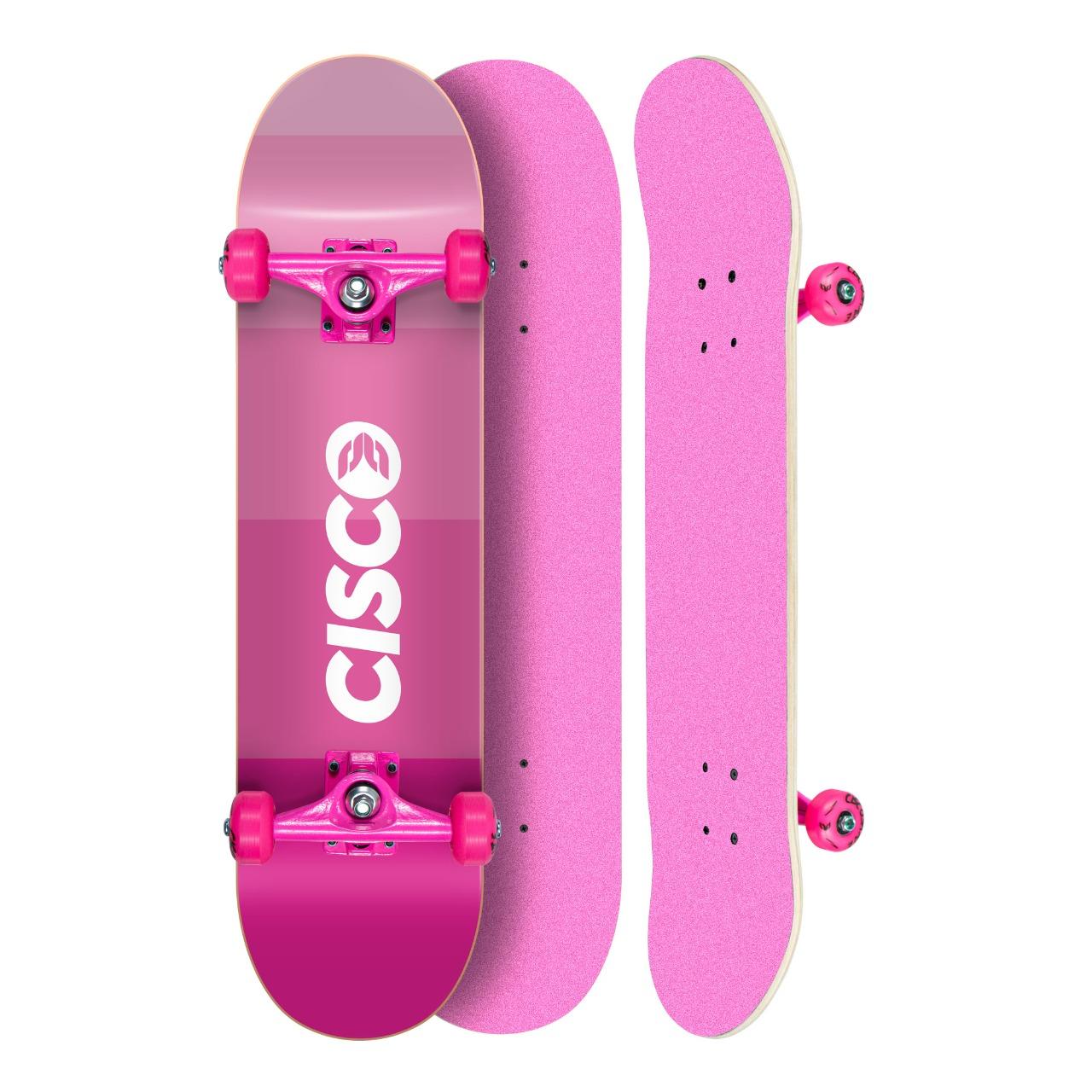 "Skate Montado Profissional Cisco Feminino Degrade - Truck/Roda/Lixa Rosa 8"""
