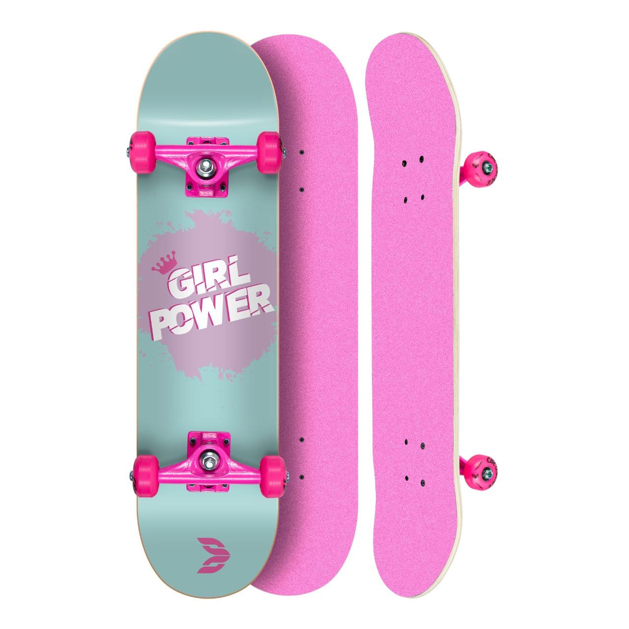 "Skate Montado Profissional Cisco Feminino Girl Power Tifanny - Truck/Roda/Lixa Rosa 8"""
