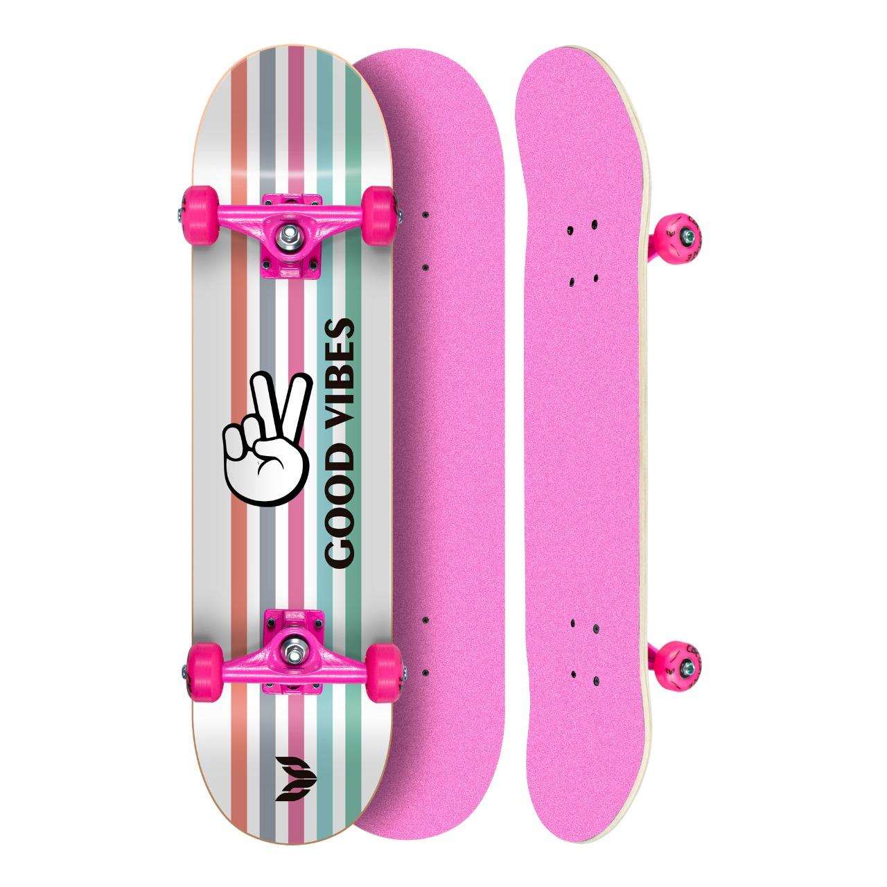 "Skate Montado Profissional Cisco Feminino Good Vibes - Truck/Roda/Lixa Rosa 8"""