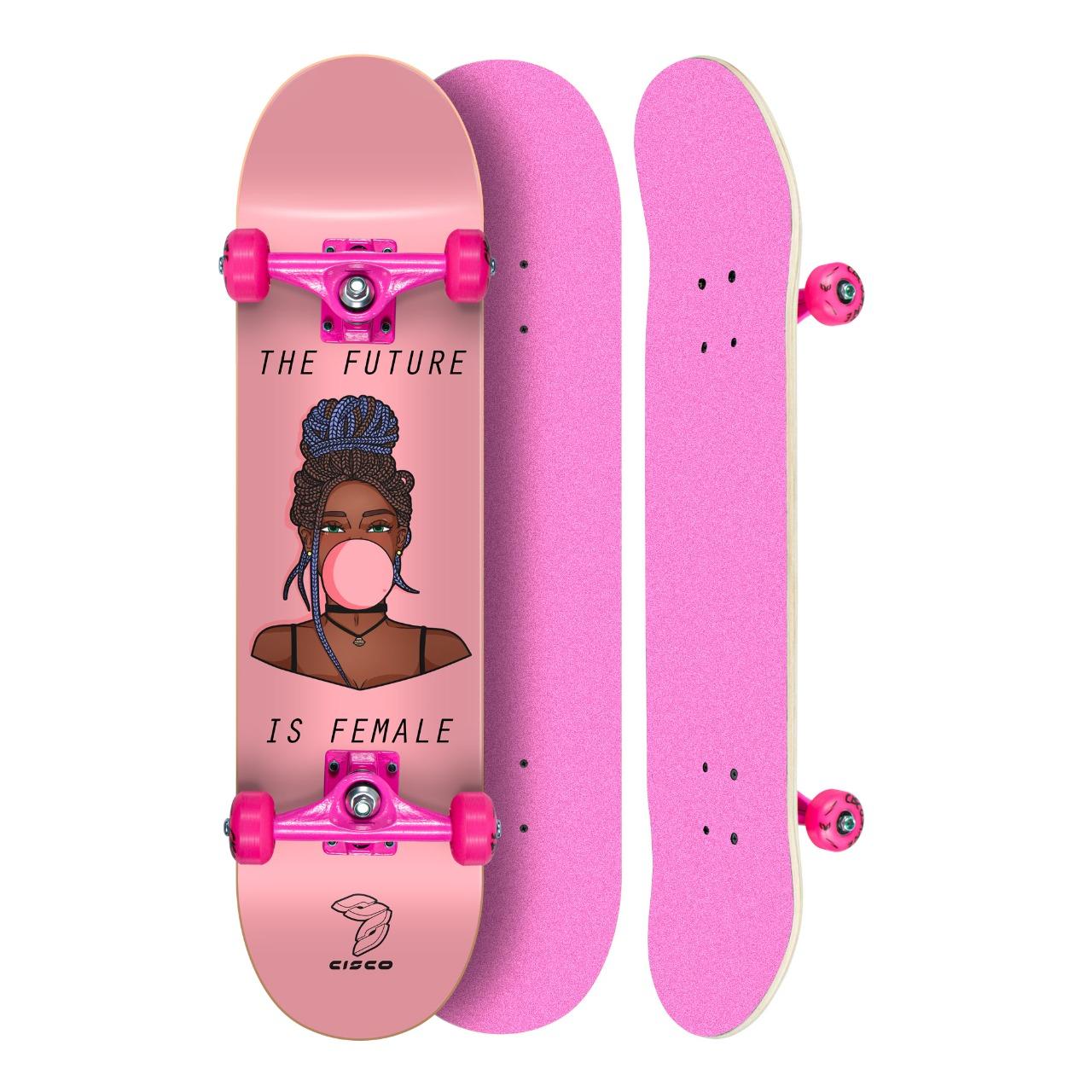 """Skate Montado Profissional Cisco Feminino Gum - Truck/Roda/Lixa Rosa 8"""""""