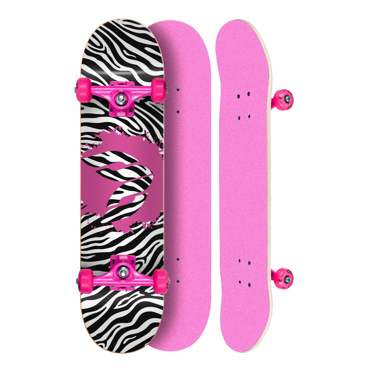 Skate Montado Profissional Cisco Feminino Lixa/Truck/Roda Rosa