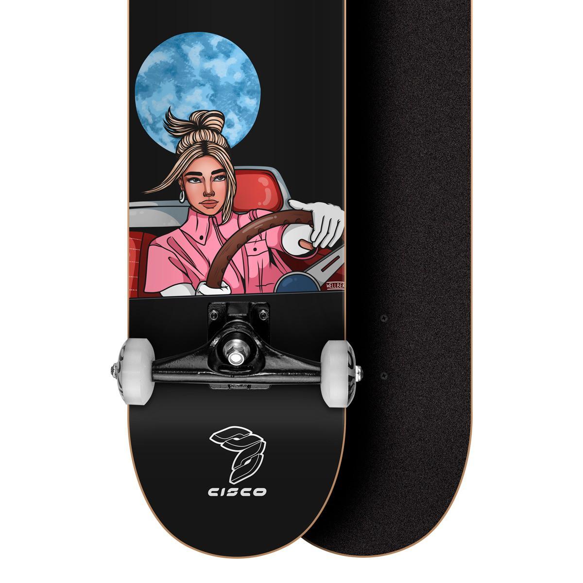 """Skate Montado Profissional Cisco Feminino Power Full 8"""" - Abec 7"""