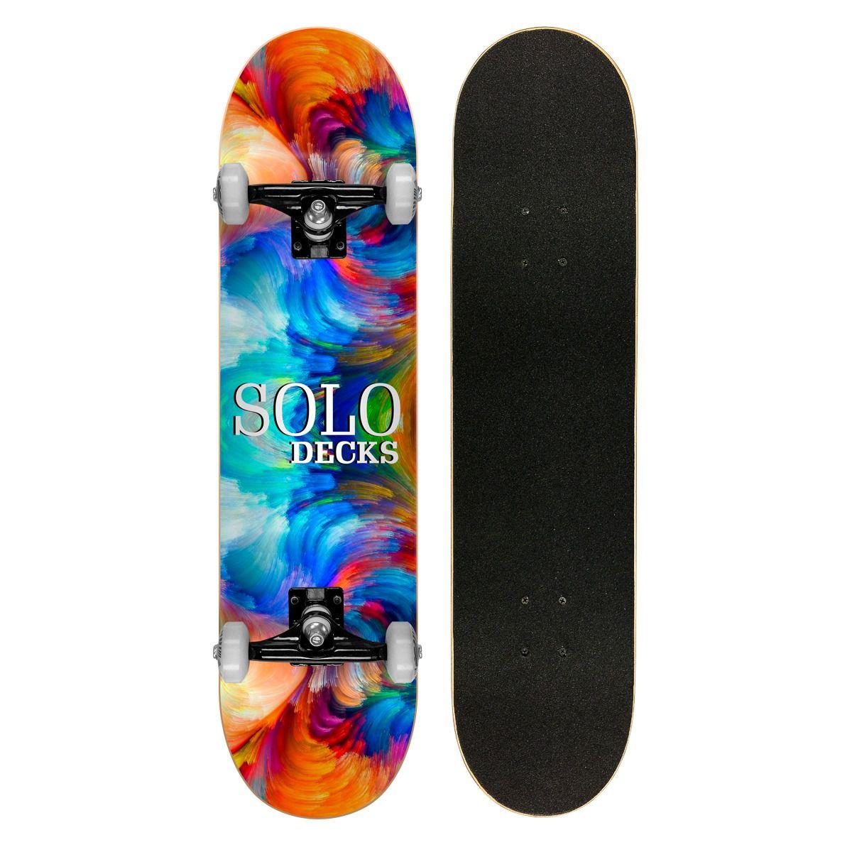 Skate Montado Profissional Solo Decks Mix Color - Até 120kgs
