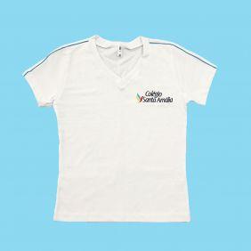 Camiseta Babylook Manga Curta 100% Algodão Branco Colégio Santa Amália Saúde