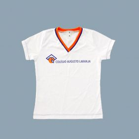 Camiseta Babylook Manga Curta Branco Colégio Augusto Laranja (Somente E. Fund e E. Médio)