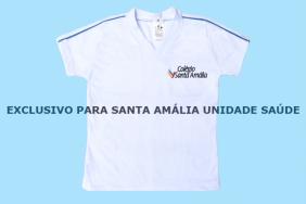 Camiseta Babylook Manga Curta Branco Colégio Santa Amália Saúde