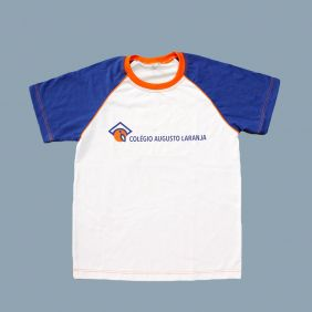 Camiseta Manga Curta Branco/Azul Colégio Augusto Laranja (Somente E. Fund II e E. Médio)