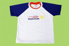 Camiseta Manga Curta Branco/Azul Shekinah