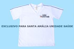 Camiseta Manga Curta Branco Colégio Santa Amália Saúde