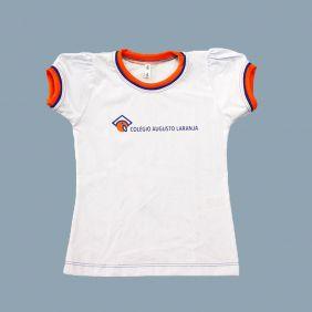 Camiseta Manga Curta Bufante Branco Colégio Augusto Laranja (Somente E. Infantil)