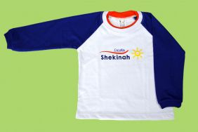 Camiseta Manga Longa Branco/Azul Shekinah