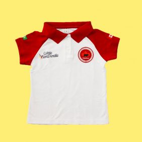 Camiseta Polo Babylook Manga Curta Colégio Santa Amália Maple Bear Ensino Fundamental