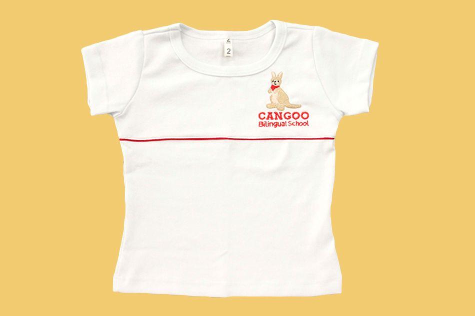 Camiseta Babylook Canelada Manga Curta Branco Cangoo