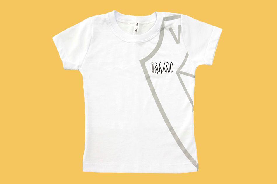 Camiseta Babylook Manga Curta Branco Rosário