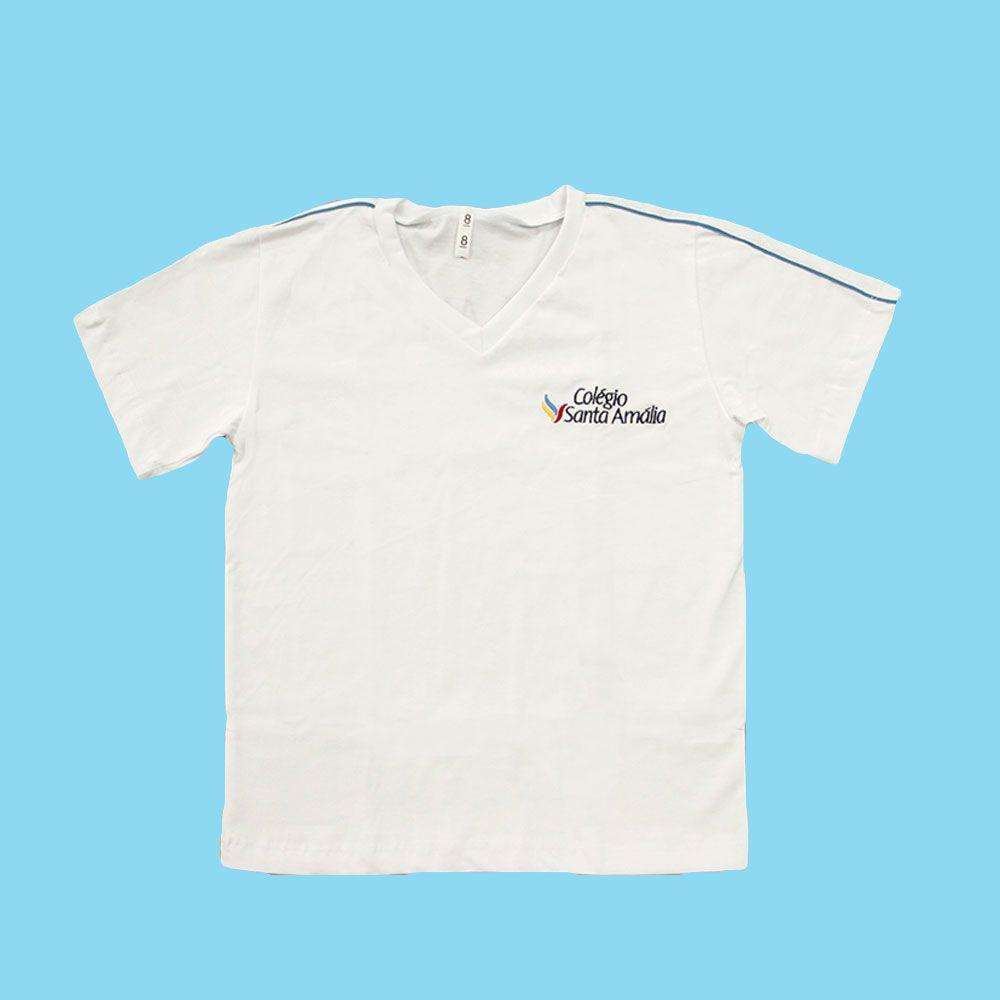 Camiseta Manga Curta 100% Algodão Branco Colégio Santa Amália Saúde