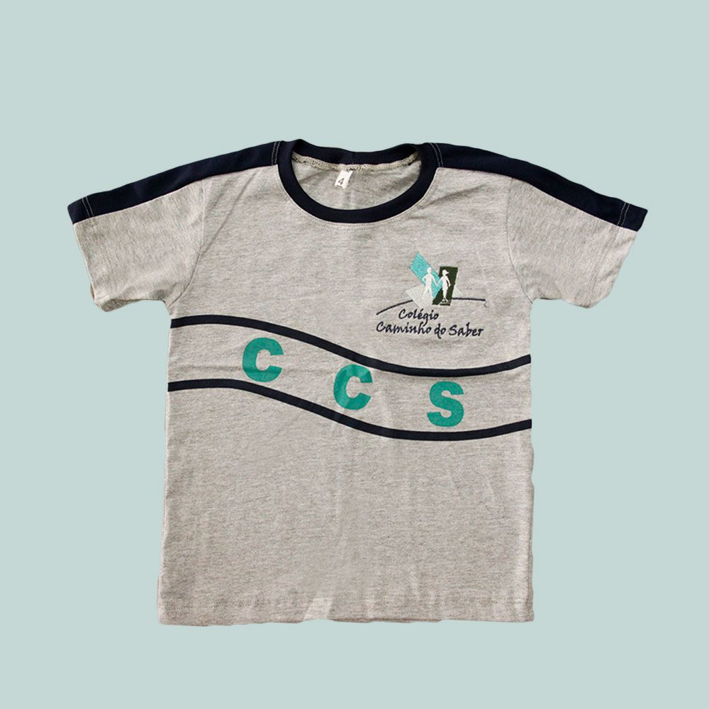 Camiseta Manga Curta Cinza Mescla Caminho do Saber