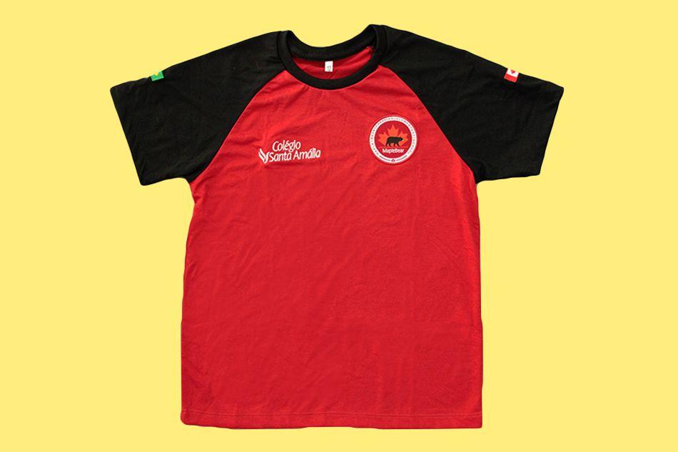 Camiseta Manga Curta Vermelha Colégio Santa Amália Maple Bear Ensino Fundamental II (Somente Fund II)