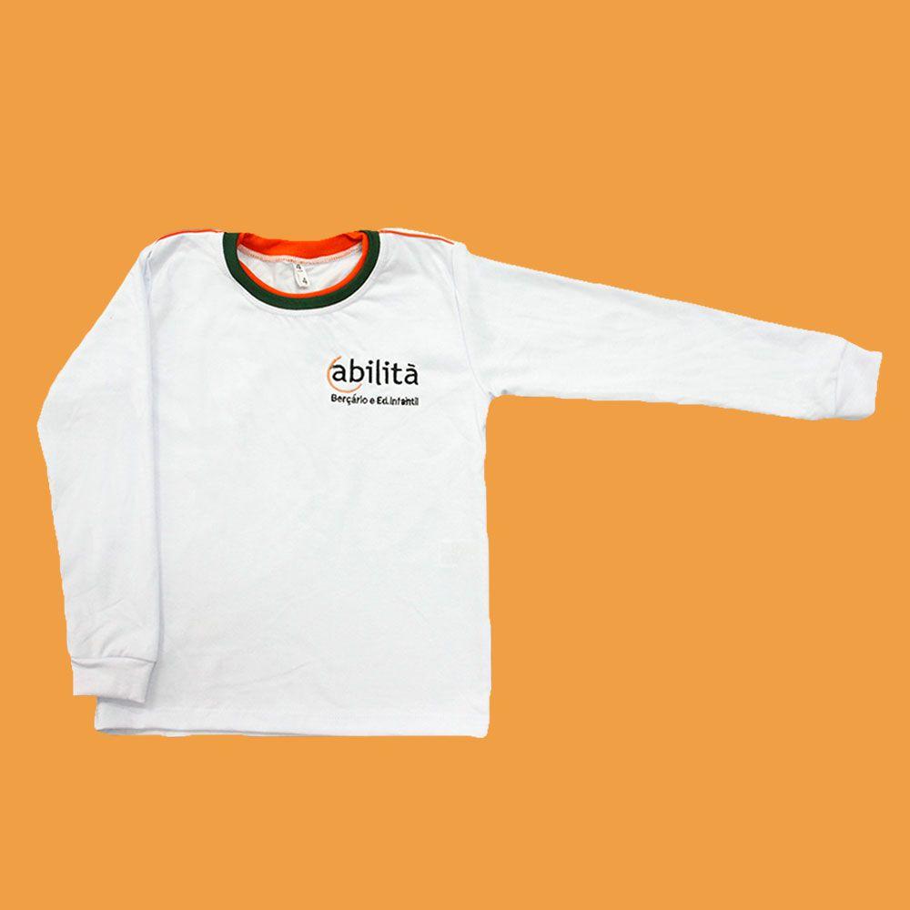 Camiseta Manga Longa Branco Abilitá
