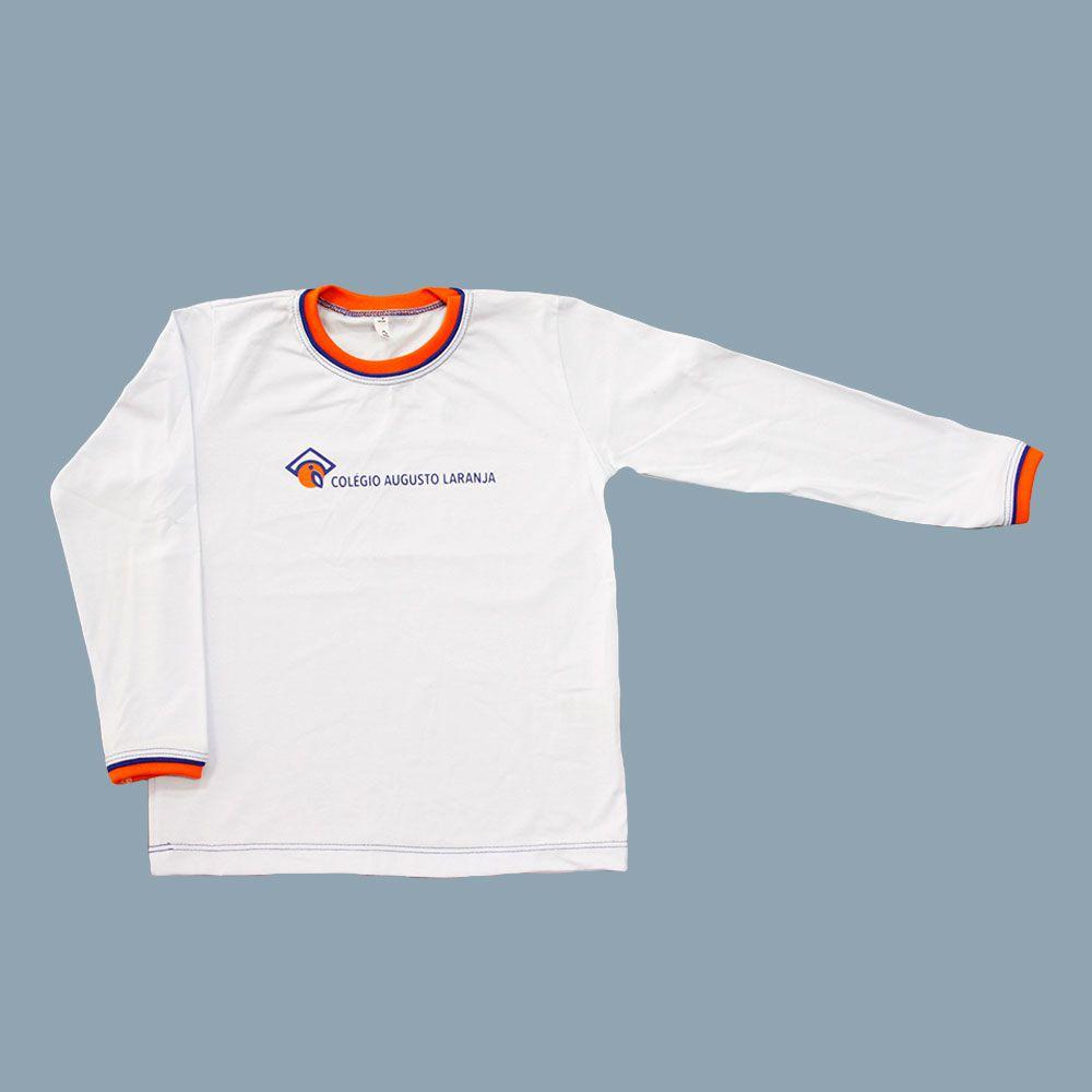Camiseta Manga Longa Branco Colégio Augusto Laranja (Somente E. Infantil e E. Fund I)