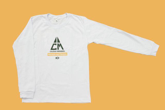 Camiseta Manga Longa Branco Colégio Mirassol