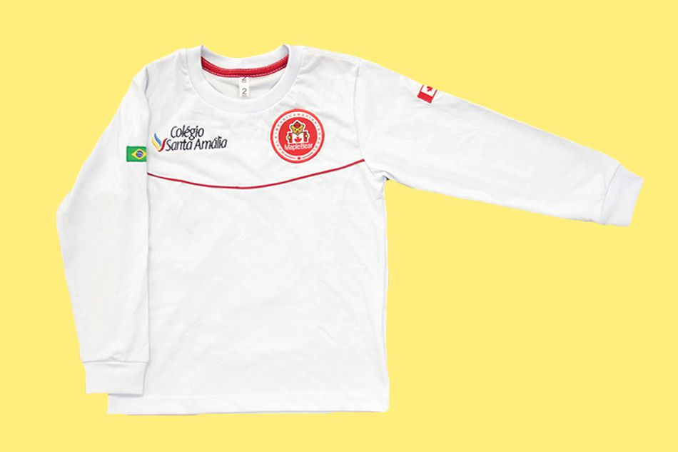 Camiseta Manga Longa Branco Colégio Santa Amália Maple Bear Ensino Infantil