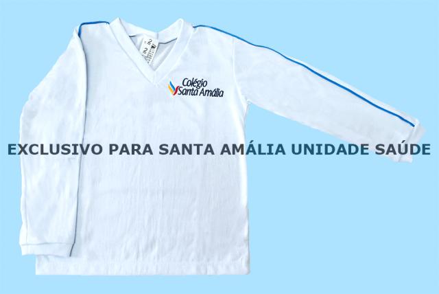 Camiseta Manga Longa Branco Colégio Santa Amália Saúde