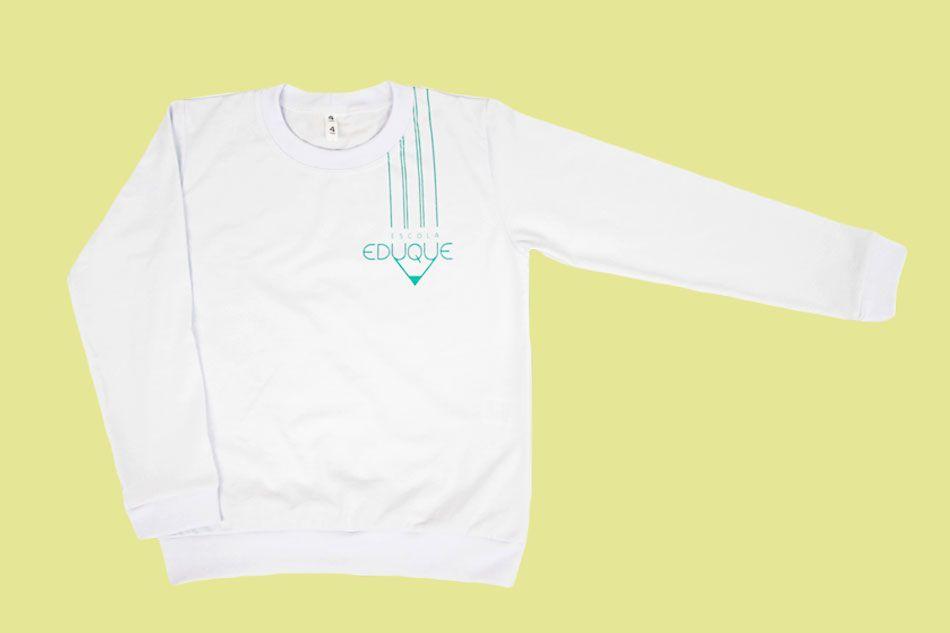 Camiseta Manga Longa Branco Eduque Ensino Infantil