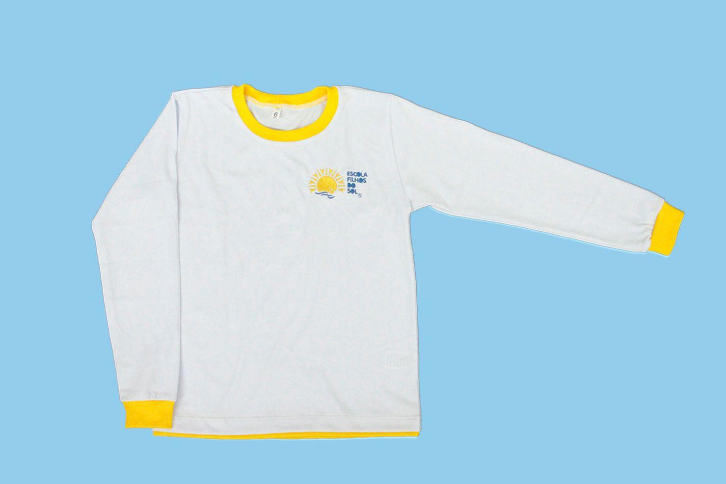 Camiseta Manga Longa Branco Filhos do Sol Ensino Fundamental