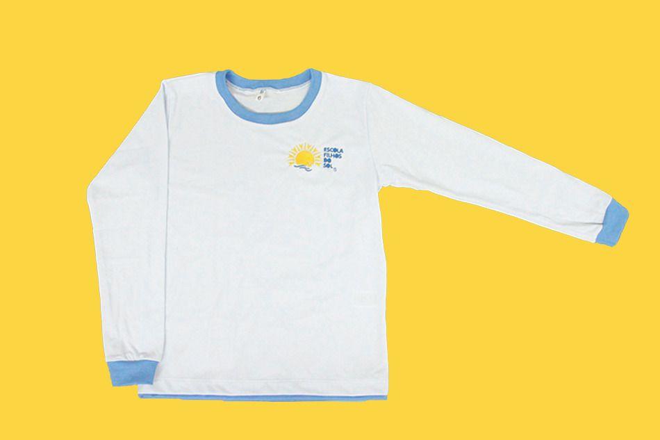 Camiseta Manga Longa Branco Filhos do Sol Ensino Infantil