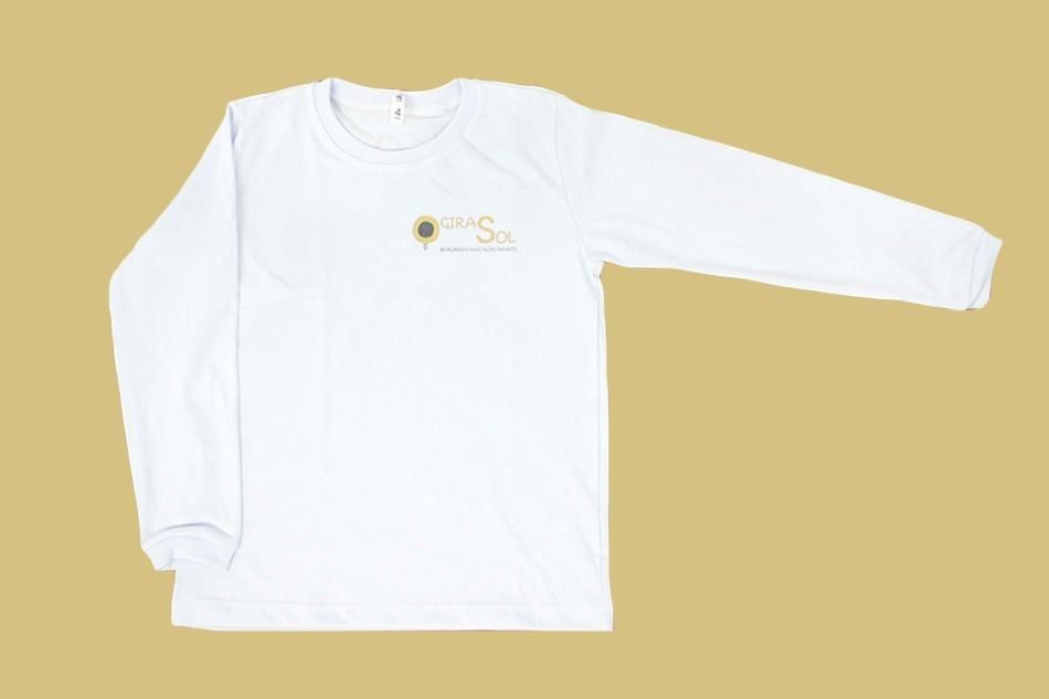 Camiseta Manga Longa Branco Girassol