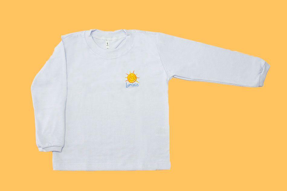 Camiseta Manga Longa Branco Luminis