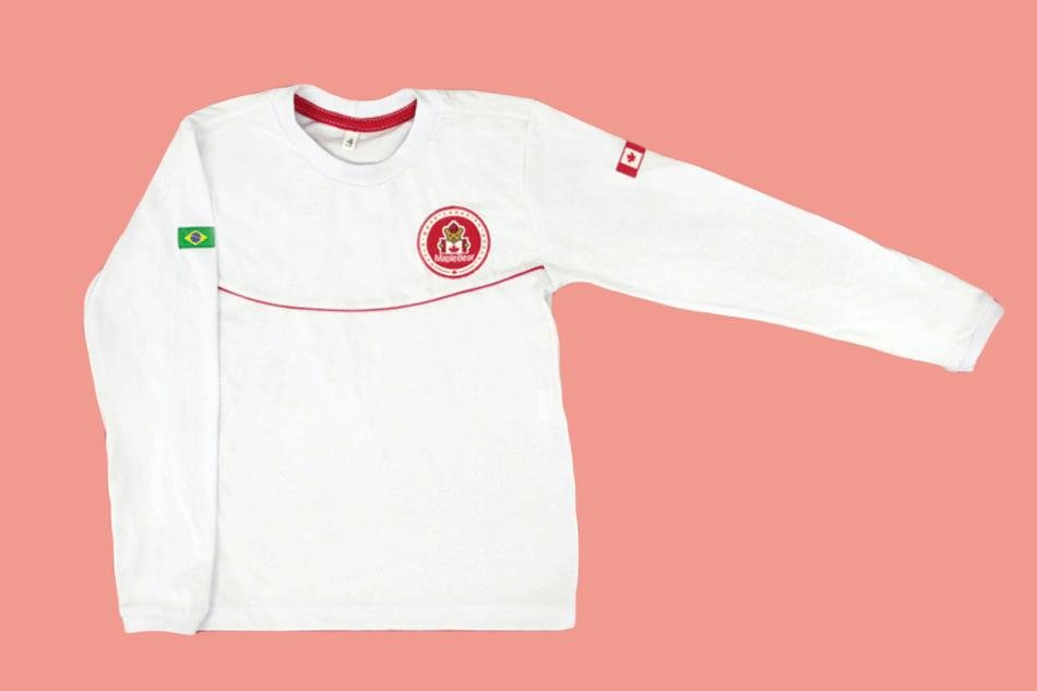 Camiseta Manga Longa Branco Maple Bear Ensino Infantil