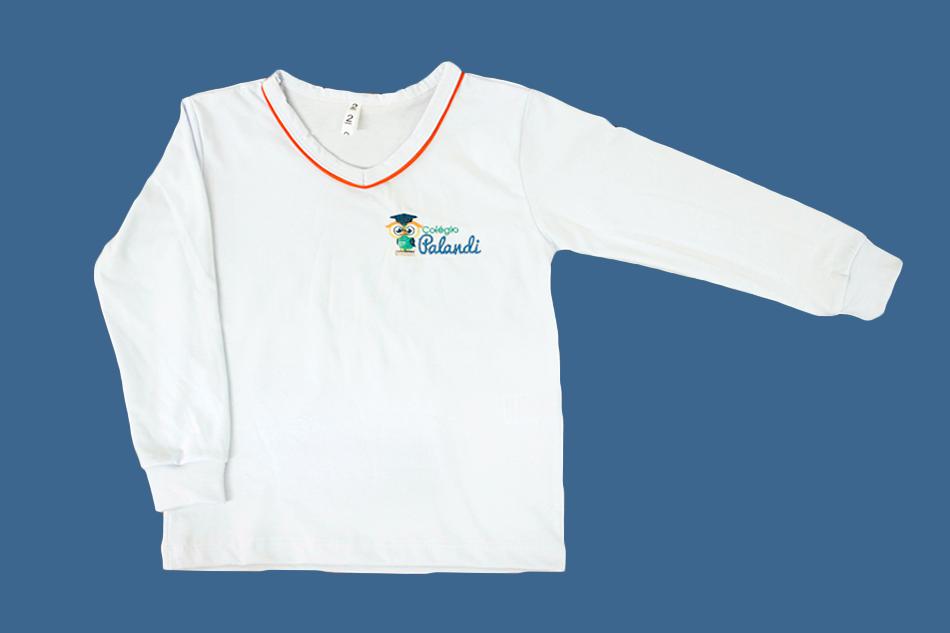 Camiseta Manga Longa Branco Palandi