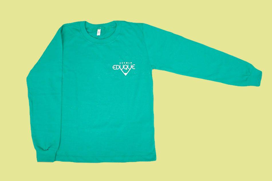 Camiseta Manga Longa Verde Agua Eduque Ensino Fundamental