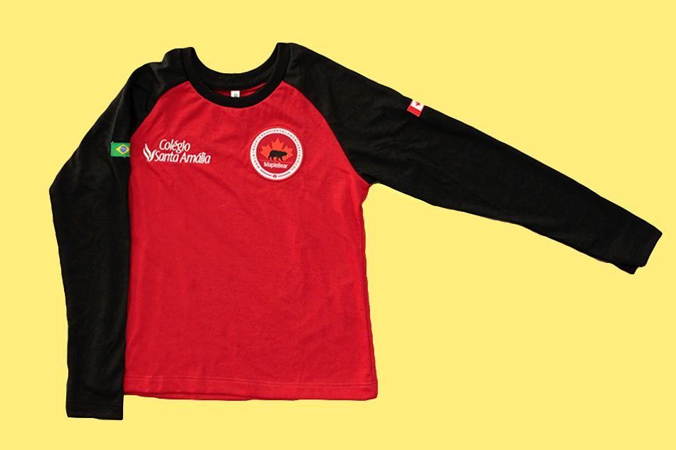 Camiseta Manga Longa Vermelha Colégio Santa Amália Maple Bear Ensino Fundamental II (Somente Fund II)