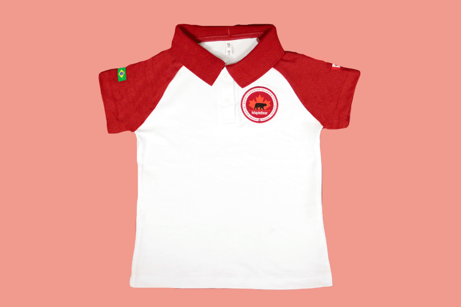 Camiseta Polo Babylook Manga Curta Maple Bear Ensino Fundamental