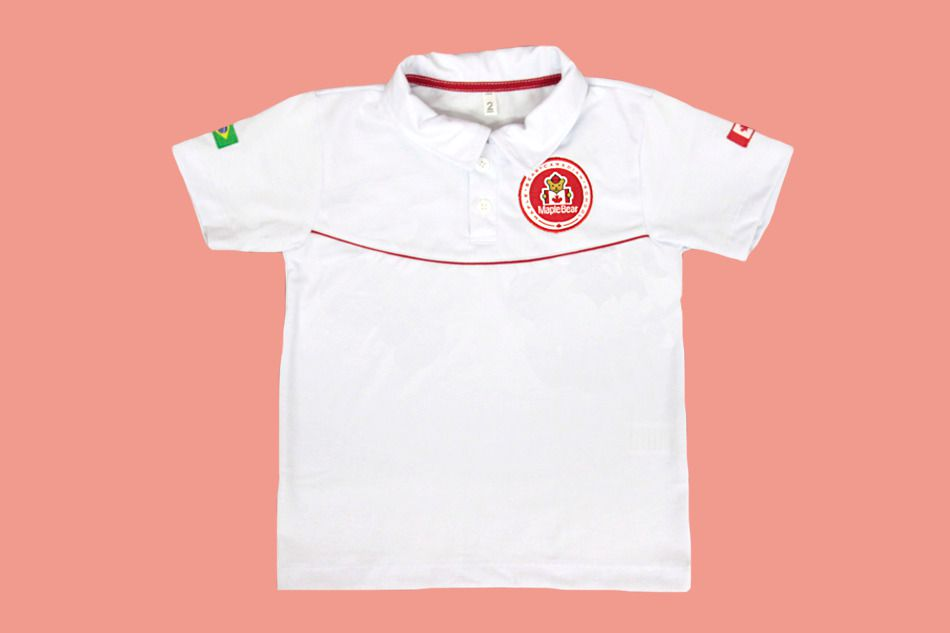 Camiseta Polo Manga Curta Branco Maple Bear Ensino Infantil
