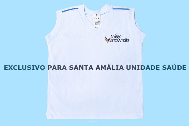 Camiseta Regata Branco Colégio Santa Amália Saúde