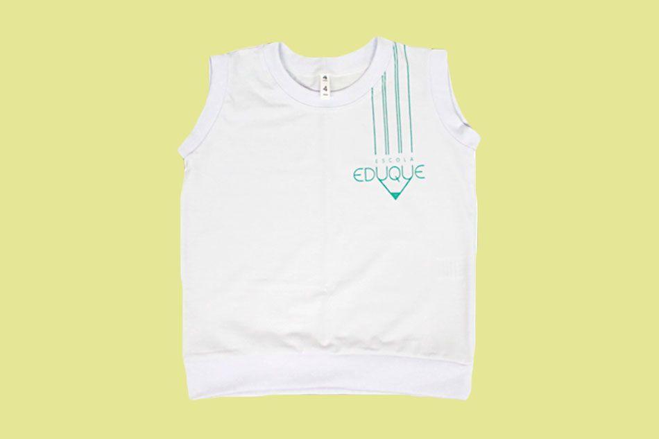 Camiseta Regata Branco Eduque Ensino Infantil