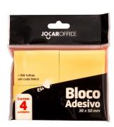 Bloco Adesivo Jocar Office 4 Blocos Com 100 Folhas Amarelo 38MMX50MM
