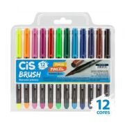 Caneta CIS Brush Pen com 12 Cores