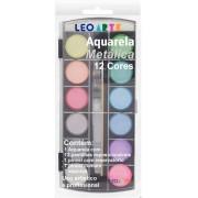 Estojo Aquarela Metálica com 12 Cores - Leo & Leo