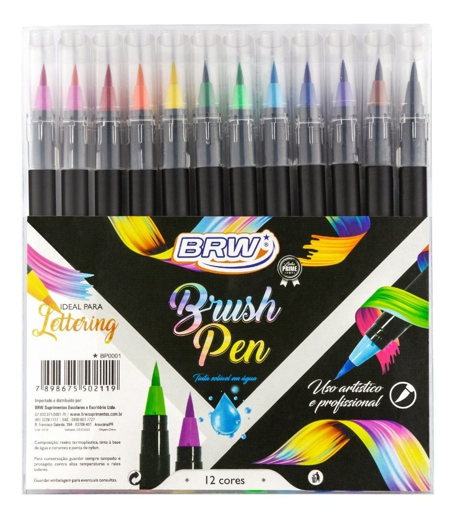 Caneta BRW Brush Pen 12 Cores