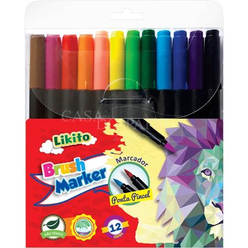 Caneta Lyke Brush Marker Com 12 Cores
