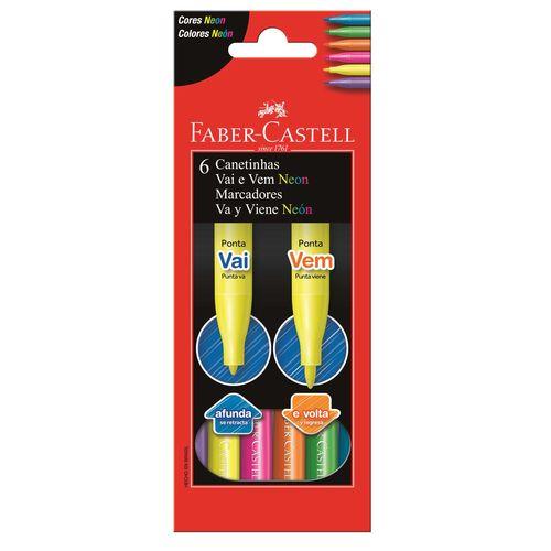 Canetinha Hidrocor Vai e Vem Faber Castell Neon com 6 cores