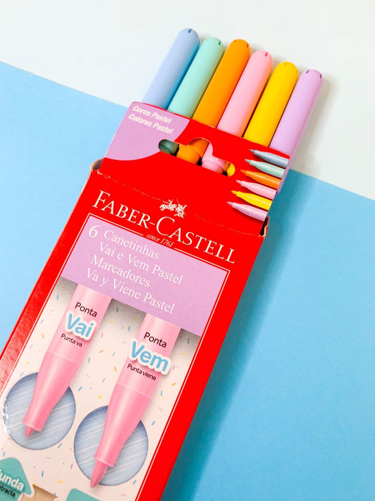 Canetinha Hidrocor Vai e Vem Faber Castell Tons Pastéis com 6 cores